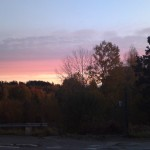 Vacker soluppgång en kall oktobermorgon ute på Almnäs.